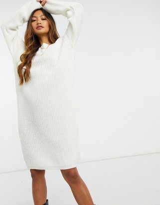 Glamorous scoop back knitted midi jumper dress with lace trim