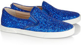 Jimmy Choo Glitter-finished leather sneakers