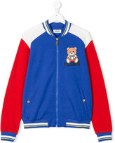 Moschino Kids colour block bomber jacket