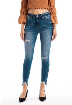 Kancan Women's Mid Rise Ankle Skinny Jeans