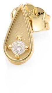 Sydney Evan 14K Yellow Gold and Diamond Teardrop Single Stud Earring