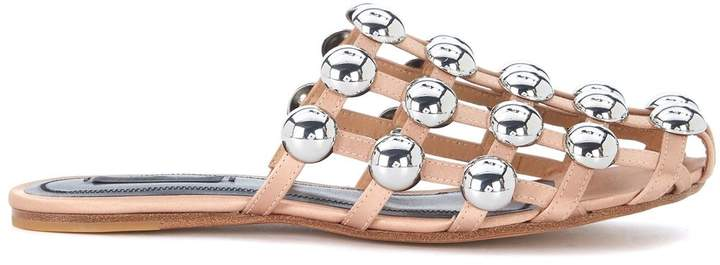 Alexander Wang Amelia Nude Satin Mules With Studs