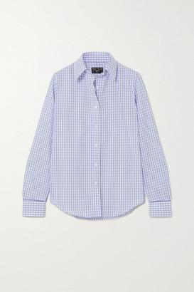 Emma Willis Gingham Cotton And Linen-blend Shirt - Navy
