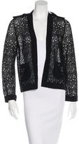 Chanel Rib Knit-Trimmed Open-Knit Cardigan