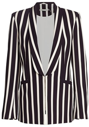 Alice + Olivia Skye Striped Open-Front Blazer