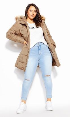 City Chic Longline Puffa Jacket - taupe