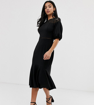 Asos DESIGN Petite exclusive lace mix midi pencil dress with pep hem-Black