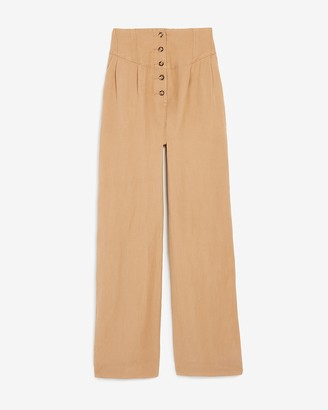 Express Super High Waisted Linen-Blend Button Fly Wide Leg Pant