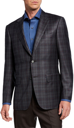 Canali Men's Two-Tone Plaid Two-Button Jacket