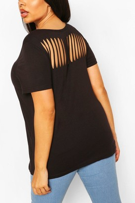 boohoo Plus Slash Back T-Shirt