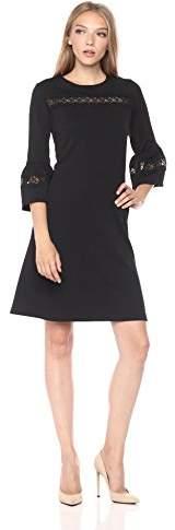 Gabby Skye Women's Bell Sleeve Dress with Lace Detail