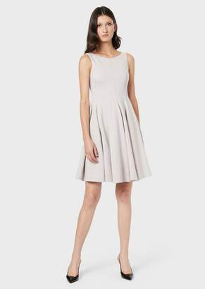 Giorgio Armani Front-Zip Dress With Pleated Skirt