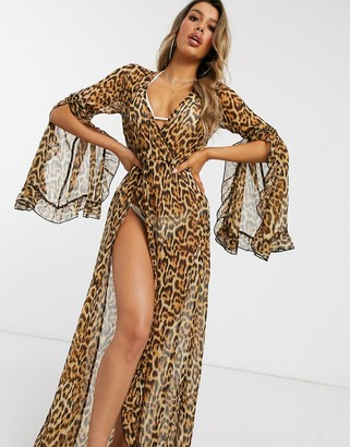 Asos Design DESIGN glam frill split beach maxi kimono in animal leopard print-Multi