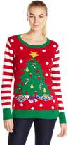 Ugly Christmas Sweater Women's Christmas Tree LIGHT-UP Crew Pullover Sweater