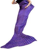 """Mermaker ®Beautiful Knitting Mermaid Blanket All Seasons Sleeping Bag for Adult and Kids 71""""x35.5""""Purple"""