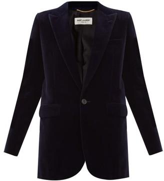 Saint Laurent Single-breasted Cotton-velvet Blazer - Navy