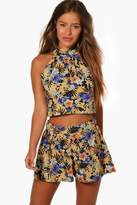 boohoo Petite Nani Halterneck Swing Top and Short Co-ord multi