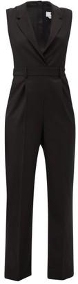 MSGM Notch-lapel Wool-crepe Jumpsuit - Black
