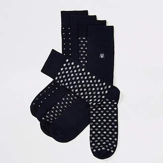 River Island Navy spot print RVR embroidered sock 5 pack