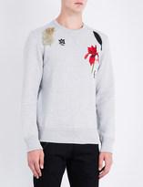 Alexander McQueen Embroidered-detail cotton-jersey sweatshirt