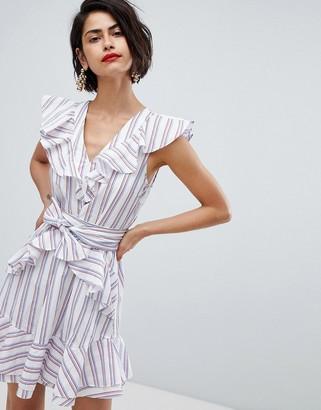 Vero Moda stripe ruffle tie waist mini dress in pink