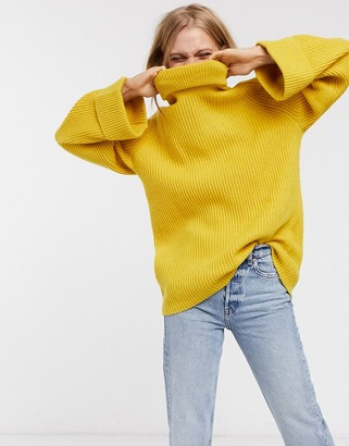Selected Saga flute sleeve roll neck jumper