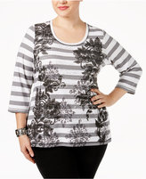 Karen Scott Plus Size Striped Printed Top, Only at Macy's
