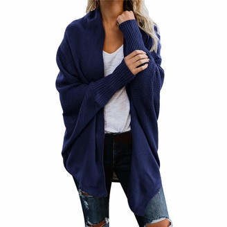 YJNH Women Cardigans Sweater Open Front Loose Comfortable Outwear Long Sleeve Fashion Cable Chunky Knit Cardigan Asymmetrical Hem Transition Coat All-Match One Size