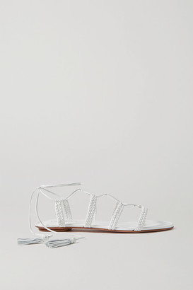 Aquazzura Stromboli Braided Leather Sandals - White