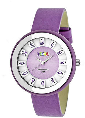 Crayo Unisex Celebration Lavender Genuine Leather Strap Watch 38mm