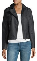 Brandon Thomas Studded-Trim Faux-Leather Moto Jacket