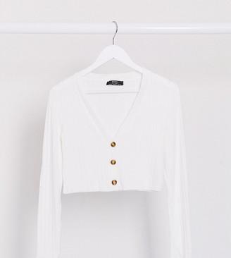 Bershka cropped jersey cardigan in white