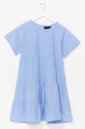 Nasty Gal Womens Chambray Denim Tiered Smock Dress - Blue - 12