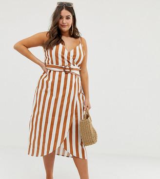 Asos DESIGN Curve wrap midi dress with buckle belt in stripe
