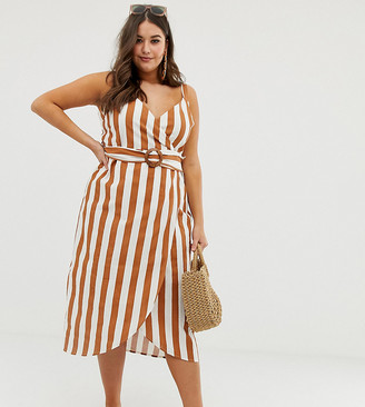 ASOS DESIGN Curve wrap midi dress with buckle belt in stripe