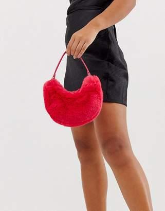 Asos Design DESIGN micro fur 90s bag-Pink