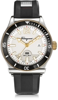Salvatore Ferragamo 1898 Sport Stainless Steel Men's Watch w/Black Rubber Strap