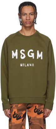 MSGM Khaki Artist Logo Sweatshirt