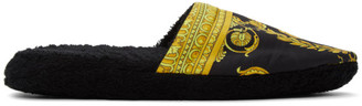 Versace Black Baroque Slippers