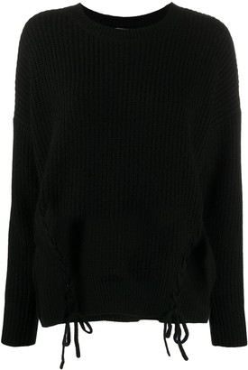 P.A.R.O.S.H. Lace-Side Ribbed Sweater