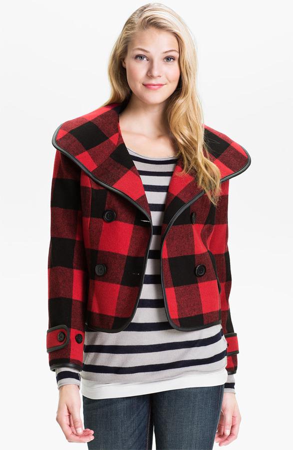 Kensie Double Breasted Plaid Jacket