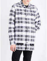 Off-white C/o Virgil Abloh Distressed Checked Cotton Shirt