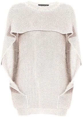 Cara Cape Effect Merino Wool Ribbed Knit Sweater In Cream
