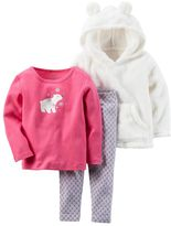 Carter's Toddler Girl Sherpa Hoodie with 3D Ears, Polar Bear Tee & Print Leggings Set