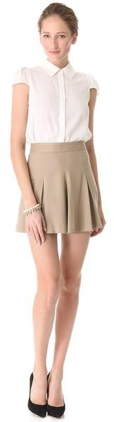 Alice + Olivia Box Pleat Khaki Skirt