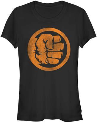 Fifth Sun Marvel Women Hulk Logo Orange Tonal Cut-Out Halloween Short Sleeve Tee Shirt