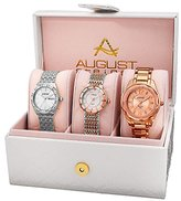 August Steiner Set AS8200RG Watch with Silver, Rose Gold Dial and Silver, Two Tone, Rose Gold Bracelet