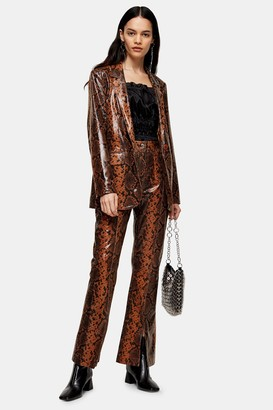 Topshop Womens Brown Leather Snake Trousers - Brown