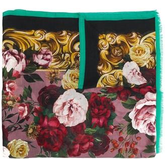 Dolce & Gabbana Baroque Rose print scarf