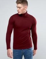 Lindbergh Sweater With Roll Neck In Burgundy Merino Wool